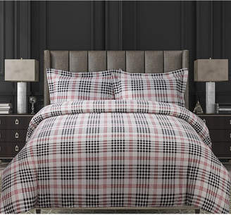 Tribeca Living Plaid Cotton Flannel Printed Oversized King Duvet Set Bedding