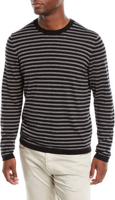 01174242 Neiman Marcus Men's Cashmere-Silk Striped Long-Sleeve T-Shirt