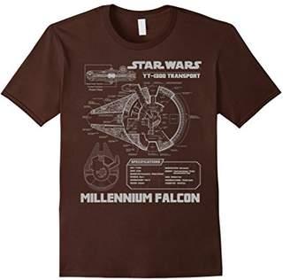 Star Wars Millennium Falcon Grey Schematics Graphic T-Shirt