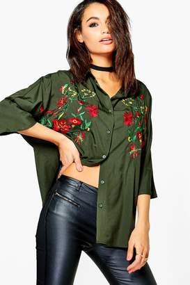 boohoo Embroidered 3/4 Sleeve Shirt