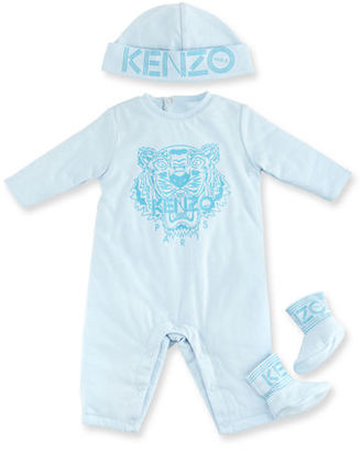 Kenzo Cotton Logo Coverall, Hat & Booties, Size 3-18 Months $100 thestylecure.com