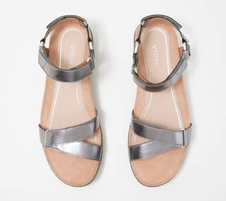 Vionic Metallic Ankle Strap Platform Wedges - Kayan