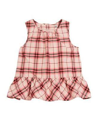 Burberry Carma Apron-Back Check Blouse, Size 12M-3