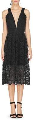 Adelyn Rae Marilyn Woven Lace Midi Fit-&-Flare Dress