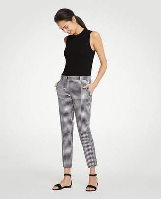 Ann Taylor The Petite Gingham Ruffle Crop Pant