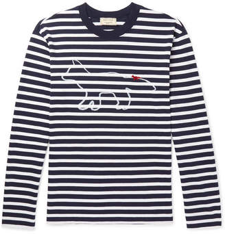 MAISON KITSUNÉ Slim-Fit Logo-Print Striped Cotton-Jersey T-Shirt