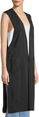 Laundry by Shelli Segal Long Tie-Back Slit-Side Vest
