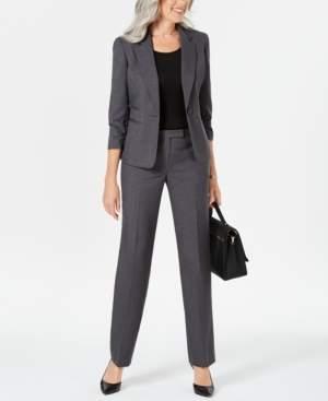 Le Suit Ruched-Sleeve One-Button Pantsuit