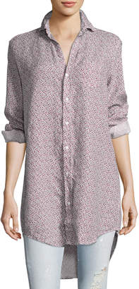 Frank And Eileen Mary Long-Sleeve Tunic Shirt, Red Pattern