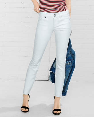 Express White Mid Rise Raw Hem Cropped Jean Leggings