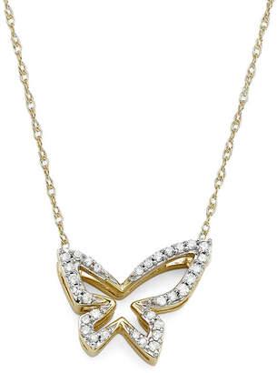 FINE JEWELRY 1/10 CT. T.W. Diamond 10K Yellow Gold Butterfly Pendant Necklace