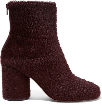 Maison Margiela - Calf Hair Ankle Boots - Burgundy $975 thestylecure.com
