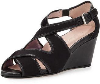 Taryn Rose Kinza Crisscross Wedge Sandal, Black $239 thestylecure.com