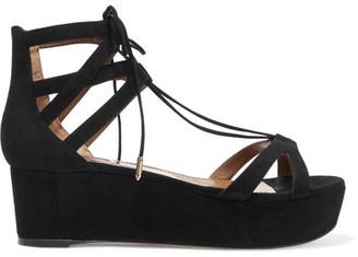 Aquazzura - Beverly Hills Suede Platform Sandals - Black $750 thestylecure.com