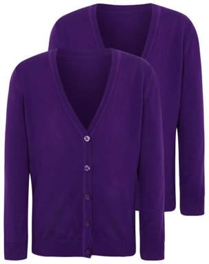 George Girls Purple School Cardigan 2 Pack