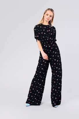 b828a258505 Topshop Womens   Ditsy Tie Front Jumpsuit By Glamorous - Black
