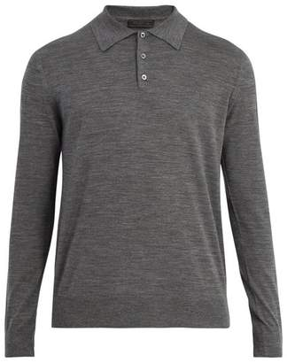 Prada - Long Sleeve Cotton Polo Shirt - Mens - Grey