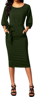 Merry Mou Store Merry Women's Long Sleeve Boat Neck Midi Cocktail Party Pencil Dress With Belt