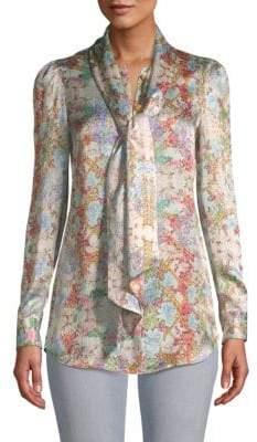 Pierre Balmain Floral Tie-Neck Silk Blouse