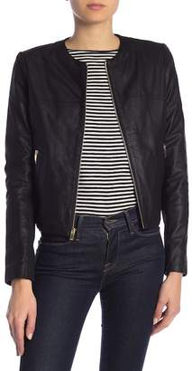 Via Spiga Front Zip Collarless Leather Jacket