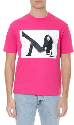 Calvin Klein Jeans Fuchsia Cotton T-shirt With Iconic Print