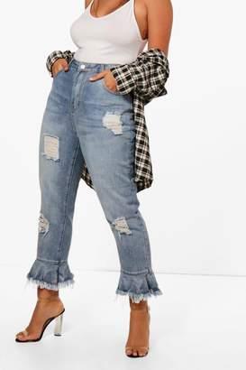 boohoo Plus Fray Ruffle Detail Jean