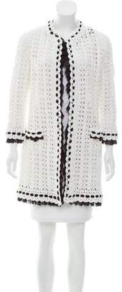 Chanel Silk-Trimmed Crocheted Cardigan