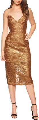 Bardot Metallic Lace Midi Sheath Dress