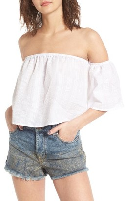 Women's Socialite Off The Shoulder Crop Top $35 thestylecure.com