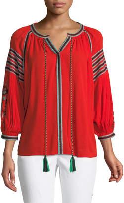 Stellah Embroidered Long-Sleeve Boho Blouse