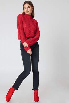 Na Kd Trend Two Tone Pocket Raw Hem Jeans