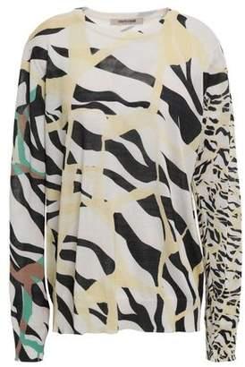 Roberto Cavalli Zebra-print Cotton And Silk-blend Sweater
