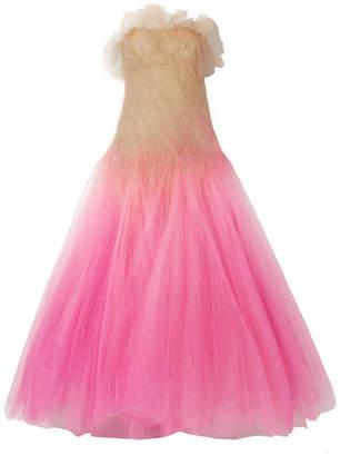 Oscar de la Renta Strapless Dégradé Tulle Gown - Pink