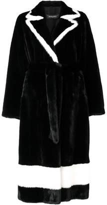 Simonetta Ravizza contrasting trim long coat