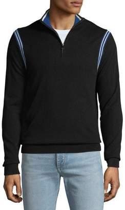 Michael Kors Men's Active Stripe 1/4-Zip Sweater
