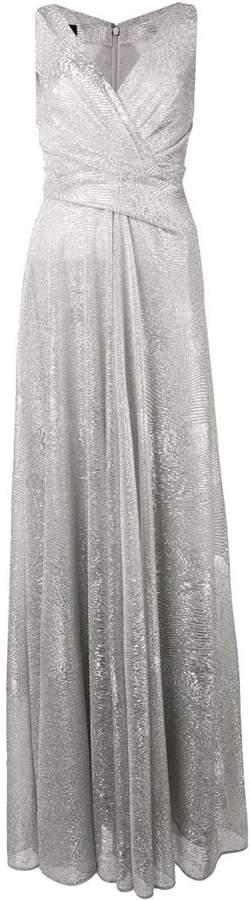 metallic draped long dress