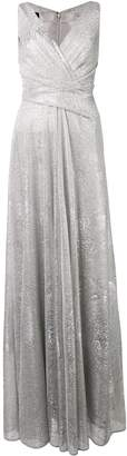 Talbot Runhof metallic draped long dress