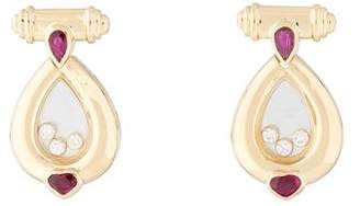 Chopard 18K Ruby & Diamond Happy Diamond Earrings