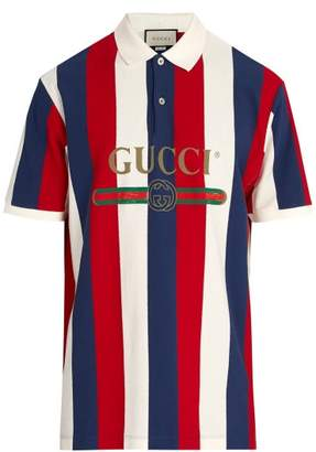 Gucci Baiadera Stripe Polo Shirt - Mens - White Multi