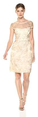 Adrianna Papell Women's Poppy Embroidered Dress with Short Sleeves