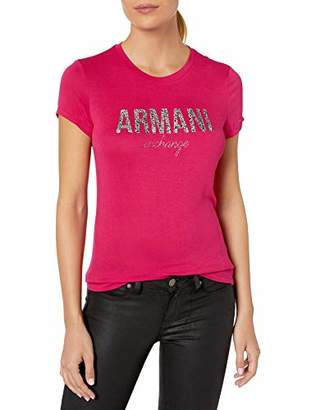 Armani Exchange A|X Women's Fitted T-Shirt with Large Faded Logo on Chest
