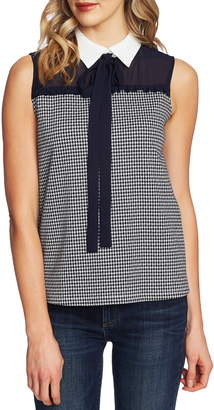CeCe Houndstooth Bow Neck Collared Blouse