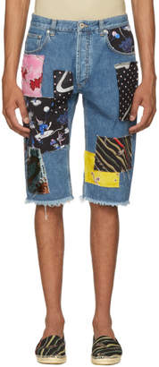 Loewe Indigo Paulas Ibiza Edition Patchwork Denim Shorts
