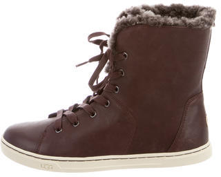 UGG Australia Leather Shearling Sneakers $125 thestylecure.com