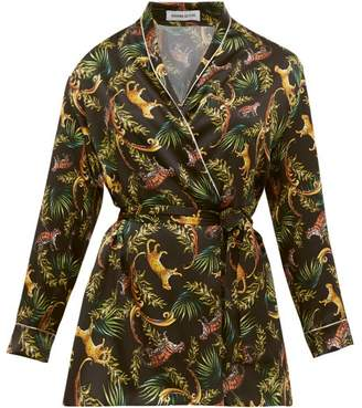 Adriana Iglesias Waldorf Bengal Print Silk Blend Wrap Blouse - Womens - Black Multi
