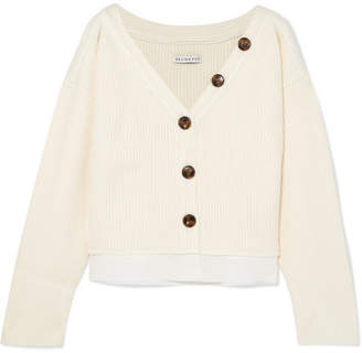REJINA PYO - Ella Off-the-shoulder Cotton-trimmed Ribbed-knit Cardigan - Ivory