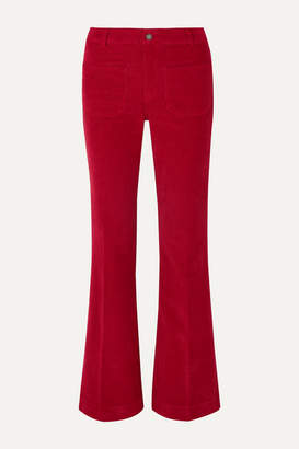 Vanessa Bruno Dompay Stretch-cotton Corduroy Wide-leg Pants - Red