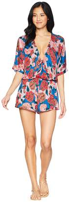 Bikini Lab THE Spanish Bloom Kimono Sleeve Romper Cover-Up Women's Jumpsuit & Rompers One Piece