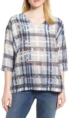 Eileen Fisher Plaid Boxy Silk Top