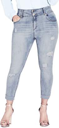 City Chic Asha Rip & Roll Jeans